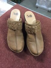 Sofft Womens Clogs Shoes Size 8.5 Tan Leather Mules Studded Comfort Heels -P60