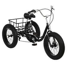 Adult Fat Tire Tricycle 20-inch Wheel And 7-speed Rear Cargo Basket Cruiser Bike