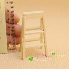 1/12 Dollhouse Miniature furniture outdoor garden wooden folding ladder unfinish