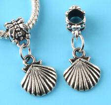 2pcs Tibetan silver shell Charm bead fit European Bracelet Pendant #D156