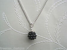 CUTE BLACKBERRY CHARM Silver Plated Necklace Chain GIFT POUCH Berry Fruit