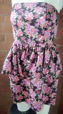 bustier peplum skater dress black pink floral sleeveless D.P 12 new