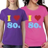 Multi Color I Love 80s Girls Short Sleeve T Shirt Womens Party Fancy Dress Lot