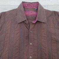 Robert Graham Men's Shirt Size Large Brown Stripe