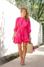 Rhode Resort Ella Mini Dress Flared Puff Sleeve Cotton Pink  Summer S New 203505