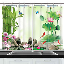 Bamboo butterfly lotus Kitchen Curtains 2 Panel Set Decor Window Drapes 55x39 in