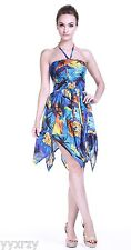Sexy Tropical Hawaiian Halter Gypsy Party Cruise Luau Pool Sunset Blue Plam Tree