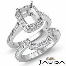 Diamond Engagement Halo Ring Cushion Bridal Sets 14k Gold White SemiMount 0.86Ct