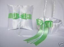 Elegant Green Flower Girl Basket Ring Bearer Pillow