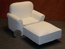Dollhouse Miniature Living Room Chair White 1:12 inch scale F55 Dollys Gallery