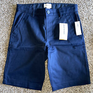 OLD Navy BOYS 10 Blue CHINO Shorts ADJUSTABLE Waist POCKETS Beige UNIFORM NWT!