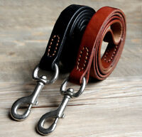 Best Leather Dog Leash for Large Dogs Heavy Duty Training Leads Clip Black Brown