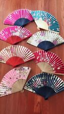 12xNEW Vintage Bamboo Folding Hand Held Flower Fan Chinese free shipping.
