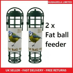 2 x WILD BIRD FAT BALL FEEDER - Garden Hanging seed nut peanut feeders