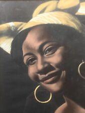 Tableau Portrait Femme Noire Africaine Créole Voyage Art Déco Signé ADEN Afrique