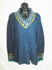 Royal Robbins M Blue Gold Sweater Shawl Collar V Neck Wool Blend Knit Woman Md