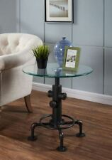 """Bronx"" Modern Industrial Pipe Accent Side Glass Top End Table in Antique Black"