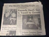 Wichita Sunday Eagle November 24, 1963 JFK Kennedy Assassination VTG Newspaper
