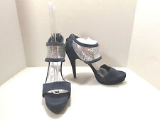 Women's ShoeDazzle Blue Ankle Strap Faux Suede Platform Shoes Size US 8.5 M