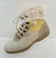 Tecnica Ankle Boots Womens Beige Goat Fur Lace Up Shearling Lined Size 10.5
