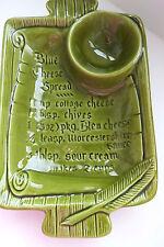 Vtg Retro Cheese Dip Bowl RECIPE Dish by California USA Pottery Olive Green