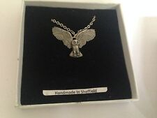 Owl WLOWLKR english pewter 3D Platinum Necklace Handmade 18 INCH