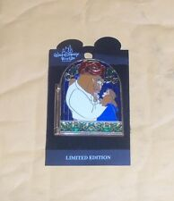 Disney Beauty & Beast 10th Anniversary Hinged Light-up Stained Glass Trading Pin