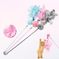 Cat Teaser Fluffy Ball Bell Feather Wand Stick Pet Kitten Play Interactive Toy M