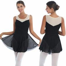 #S Women Girls Sleeveless Mesh Lyrical Dancewear Leotard Figure Skating Dress