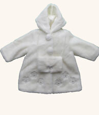 Jingles girls winter white fur coat and muff - age 18 months