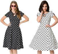 Polka Dot Evening Dress Ladies Vintage 50's White & Black Cap Sleeve Swing 8 10