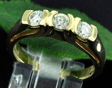 0.60ct 18k Solid Yellow Gold 3 Stone Natural Diamond Ring Anniversary made USA