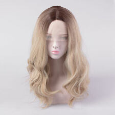European Real Human Hair Wig Ombre Ash Blonde Wavy Remy Lace Front/Full Lace Wig