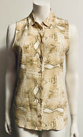 Equipment Femme Sleeveless Silk Signature Blouse Beige Brown Snakeskin Print XS