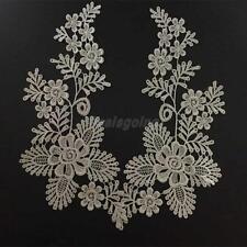 Vintage White Lace Embroidered Sew On Neckline Collar Floral Trim Applique