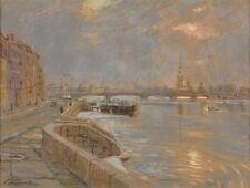 Original Gemälde Bernstein, Stanislaw 1937 Leningrad Ansicht von St. Petersburg.