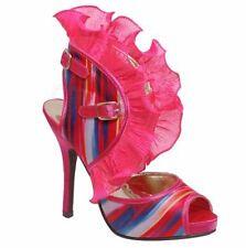 New Women's Open Toe  Lace Ruffle Chiffon High Heel Sandal Yellow Pink 5.5 - 7.5