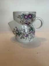 Scuttle SHAVING MUG White Porcelain With Hand Painted FLORAL