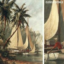 """32Wx50H"""" RUM CAY by MALARZ - PALM TREES SAILBOAT LAKESIDE - CHOICES of CANVAS"""