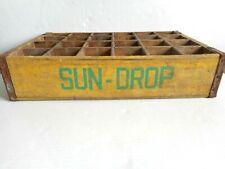 Vintage Sun Drop Soda Wooden Crate 24 Bottle Green On Yellow Wood Carrier Tenn.