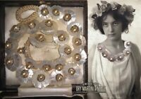 ANTIQUE VICTORIAN CARVED MOTHER OF PEARL FLOWER NECKLACE BRIDAL ROMANTIC GIFT