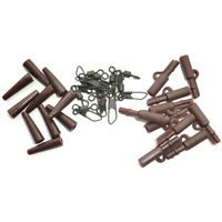 30 PIECE LEAD SAFETY CLIP SYSTEM in BROWN tail cones swivels fishing carp tackle