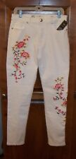 DIANE GILMAN DG2 8 OFF WHITE VIRTUAL STR. VINTAGE JEANS W/EMBROIDERY HIPS 39""