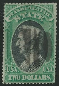 1873 US - Sc #O68 - $2 Seward Department of State Official Used - SCV $3,000.00