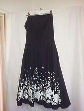 Ladies rock n roll vintage style strapless dress black  size S