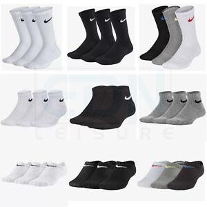 Junior Nike Socks 3 Pairs Boys Girls Kids Crew Ankle No Show Sports Sizes UK 2-8