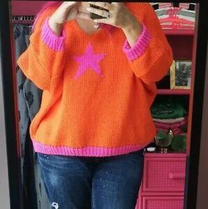 AUTUMN BRIGHT ORANGE STAR MOHAIR BLEND knit Batwing V-Neck JUMPER 10/12-18/20