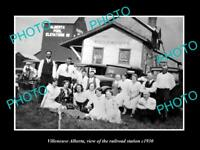 OLD LARGE HISTORIC PHOTO OF VILLENEUVE ALBERTA, THE RAILROAD DEPOT STATION c1930
