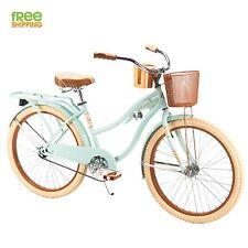 "Women Cruiser Bike 24"" Mint Comfort Commuter Bicycle Basket Beverage Holder New!"