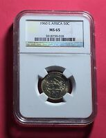 EAST AFRICA-1960 UNCIRCULATED 50 CENTS  GRADED BY NGC MS65 .